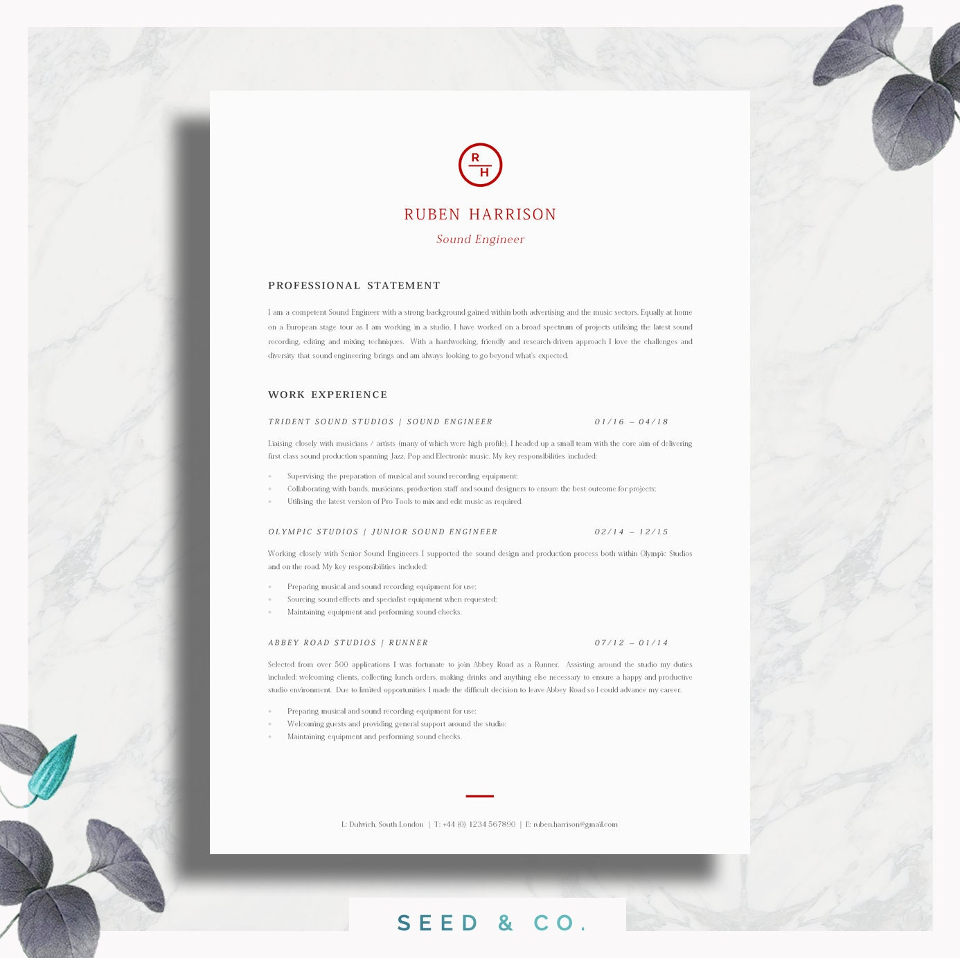 CV Template | Professional Resume Template | Professional CV + Cover Letter  + Advice | Printable for Word | The