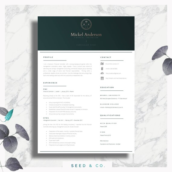 Professional Cv Template Two Page Resume Cover Letter Etsy