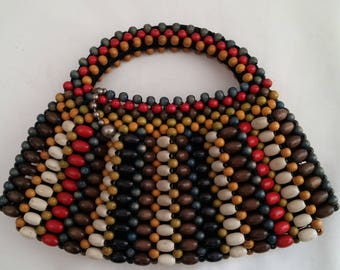 Vintage Multi Colored Wooden Bead Purse