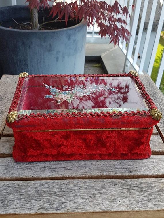 Art Nouveau Velvet Jewelry Box - image 5