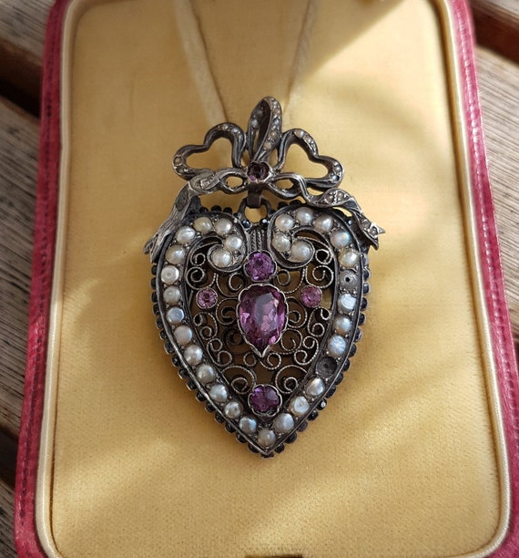 Victorian Heart Paste Locket Pendant