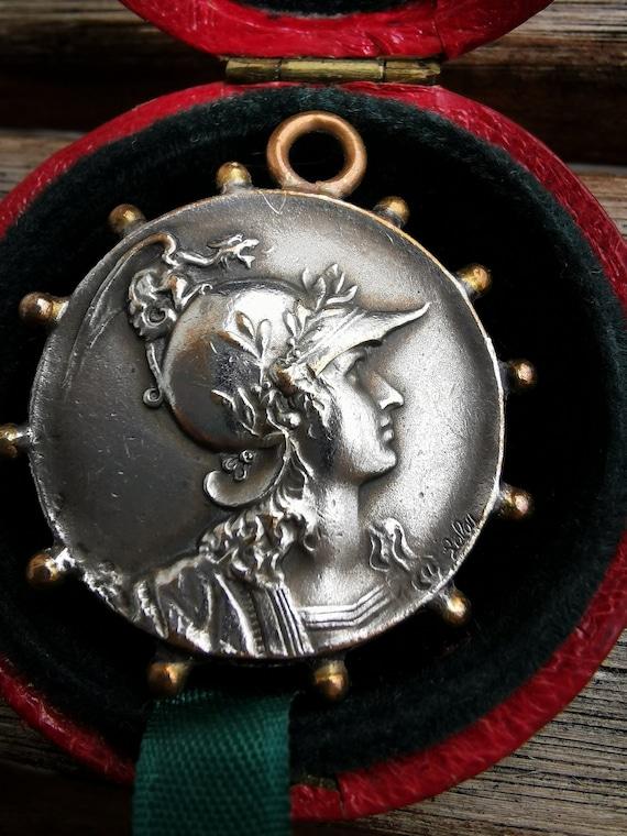 Antique Athena Silver Medal Pendant - image 4