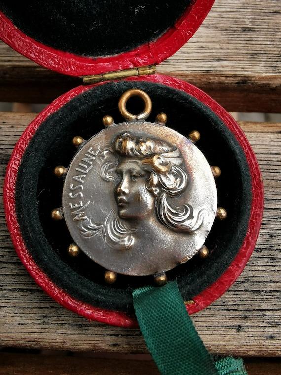 Antique Athena Silver Medal Pendant - image 5