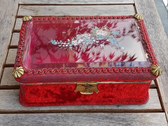 Art Nouveau Velvet Jewelry Box - image 1