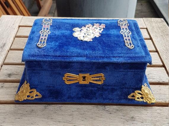 Antique Victorian Velvet Jewelry Box - image 1