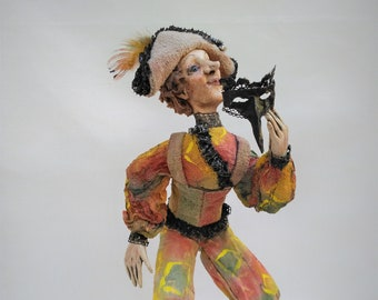 Harlequin, Venetian, Paper, Fabric Doll, Air Dry Clay, Papier Mache, OOAK Art Doll, Mixed Media, Home, Office Decor, Interior Sculpture