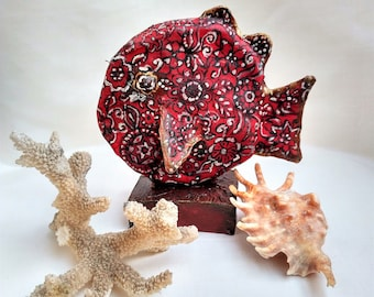 Hand Painted Fish, Rag Paper Mache, Red Fish, Papier Mache, OOAK Art Doll Animals, Home Boho Rustic Decor, Rag Sculpture, Mixed Media, Art