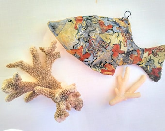 Colorful Fish, Hand Painted Fish, Paper Mache, Wall Art Animals, Papier Mache, OOAK Art Doll, Home Rustic Boho Decor, Wall Sculpture, Art