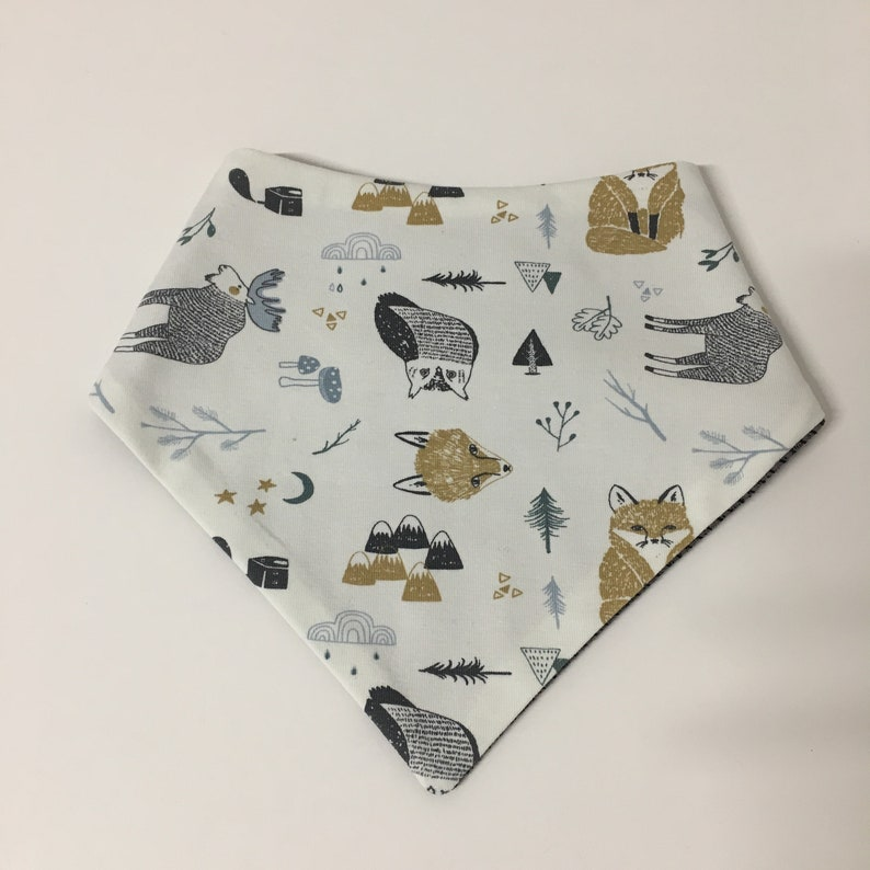 Organic reversible scarf forest animals mustard image 0
