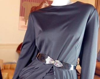 Danish Vintage Little Black Dress, Formal Black Dress, Elegant Black Dress, European Vintage Black Party Dress: Size 12 US, 16 UK
