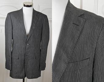 40a6b385 European Vintage Hugo Boss Blazer, Black w Fine White Stripes Linen-Blend Sports  Coat Jacket: Size 36 US/UK