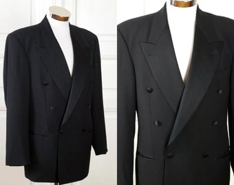 3261fa47a Vintage Hugo Boss Tuxedo Jacket, Black Tie Double Breasted Lightweight Wool  Smoking Jacket, European Dinner Jacket: Size Large (40 US/UK)