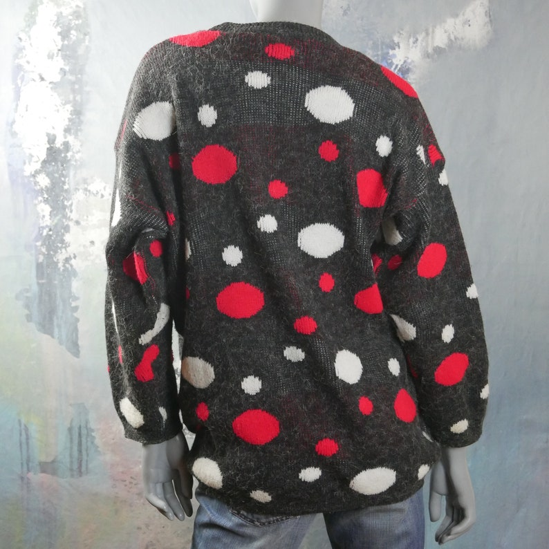18 UK Polka Dot Sweater Size 14 US 1980s British Vintage Charcoal Gray Red and White Soft Warm Winter Pullover Jumper