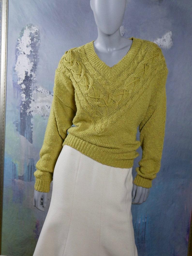 5e7c6b0800895 Chartreuse Sweater European Vintage Knit Women s V-Neck