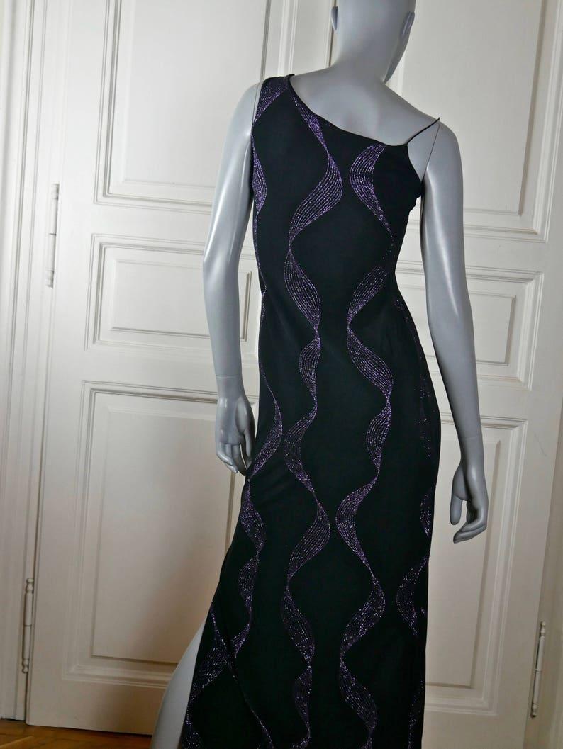 Black Purple Glittering Elegant Long Sleeveless Formal Dress Star Party Dress: 6 US 10 UK French Vintage One Shoulder Evening Dress