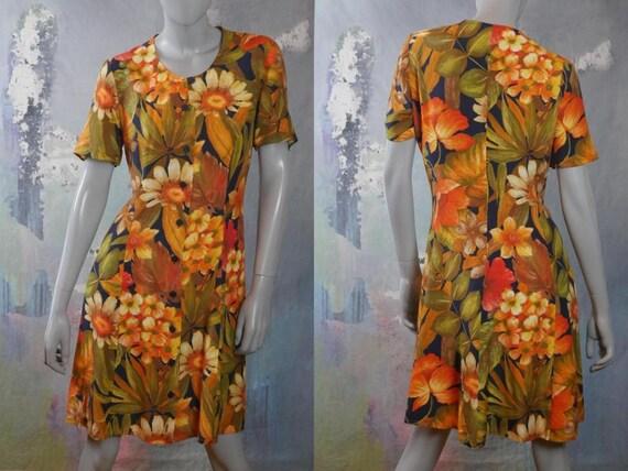 Floral Summer Dress, 1990s French Vintage Orange Y