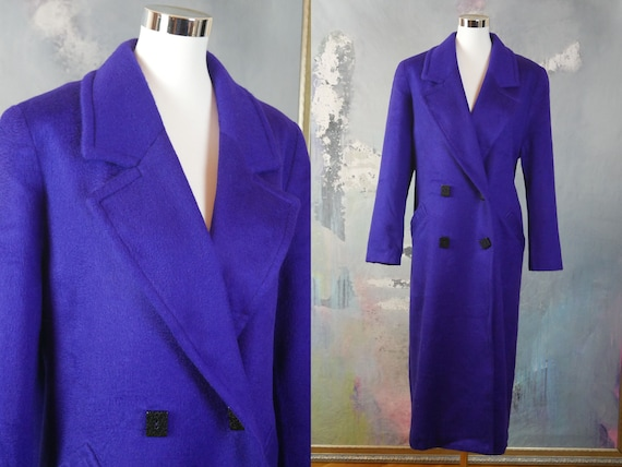 Purple Cashmere Coat, 1990s European Vintage Doubl