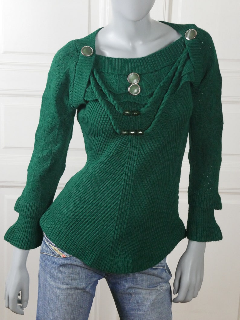 1990s Retro Casual Pullover Top 10 UK Size 6 US Green Knit Sweater Top