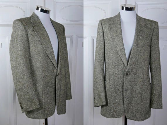 Vintage européen Hugo Boss Tweed Blazer en laine, marron l'hiver blanc manteau sport en laine Tweed irlandais, veste en Tweed: taille 38 U.S.