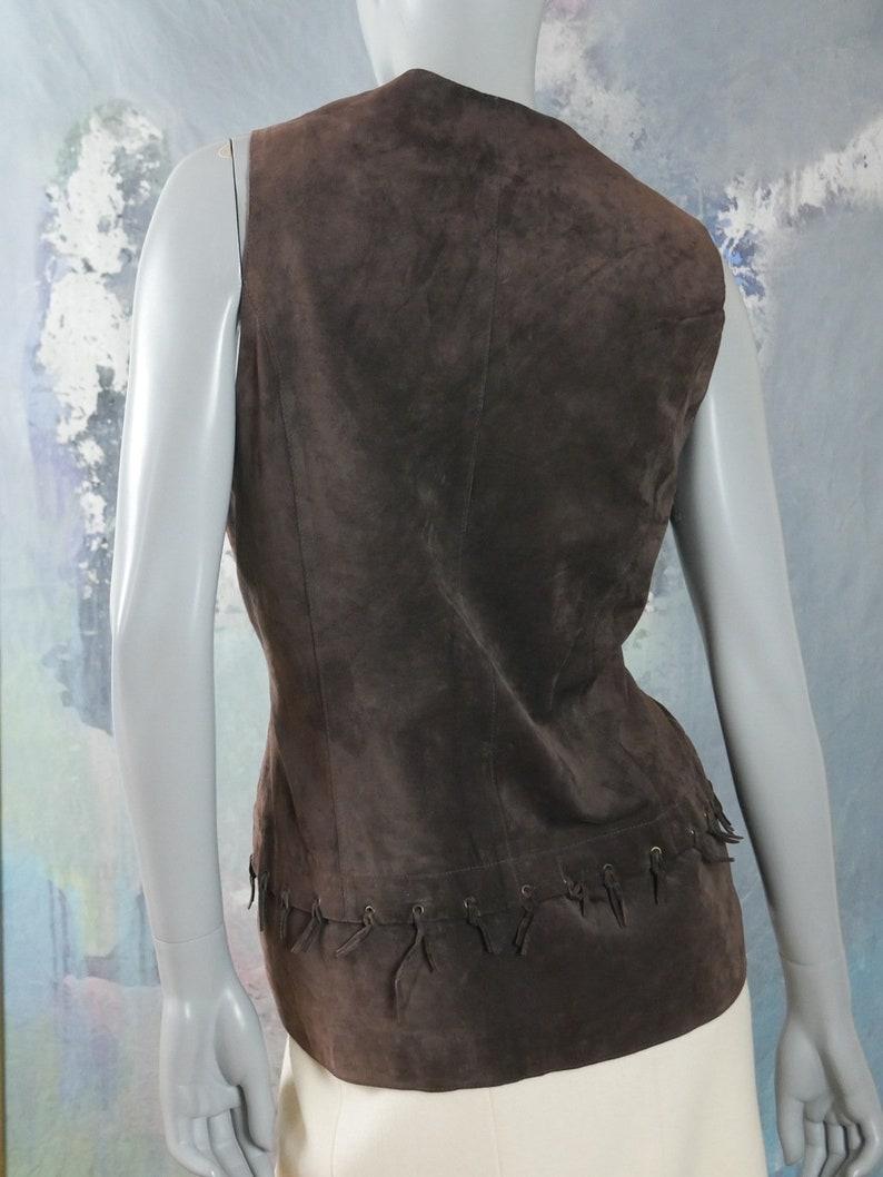 Genuine Leather Long Vest w Hip Line Tied Fringe Size 14 UK Brown Suede Leather Vest Festival Vest: Size 10 US