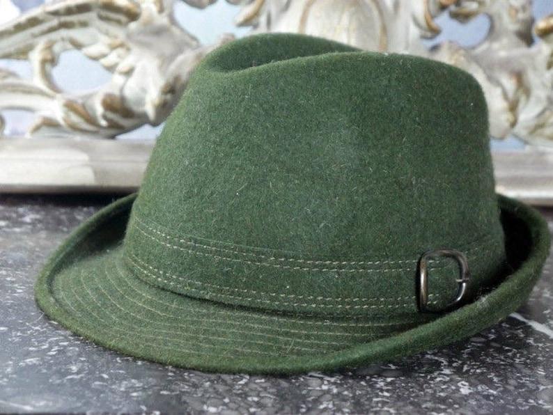 0160838523b182 Men's Vintage Wool Fedora Hat Mossy Green Alpine Austrian | Etsy