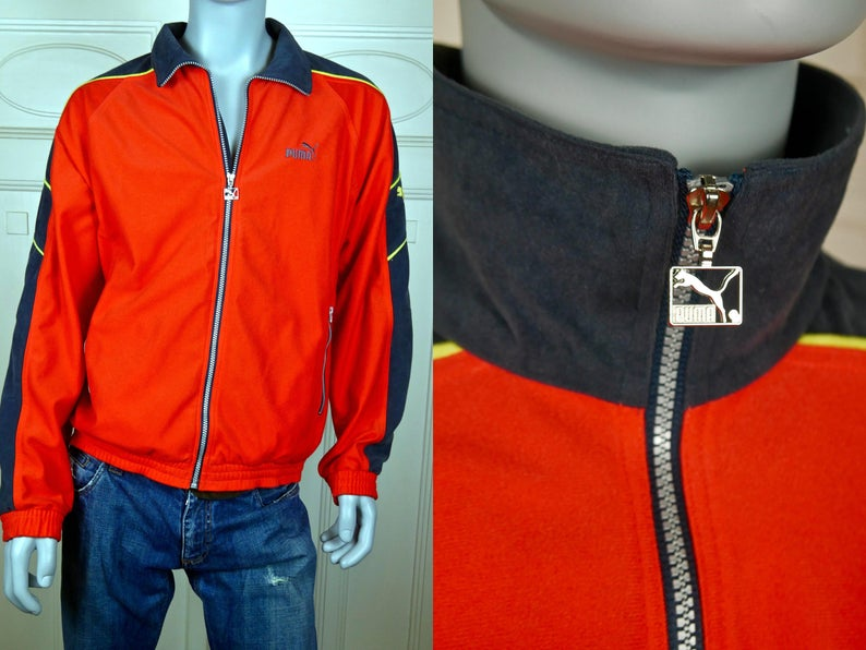 b1dd3399f8ed PUMA Jacket German Vintage Orange Black Yellow Sports Jacket