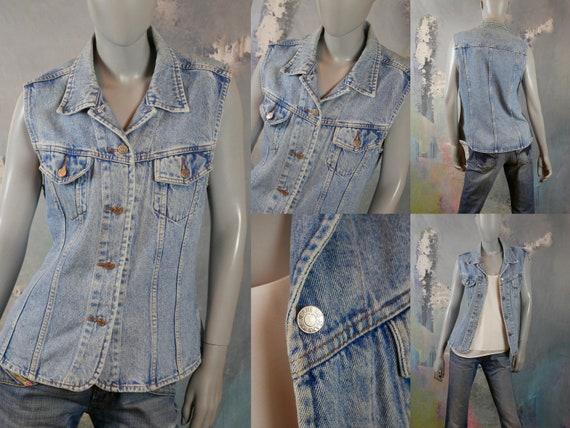 1990s Denim Vest Jeans Jacket, French Vintage: Siz