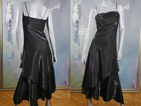 Black Evening Dress, French Vintage Spaghetti Stra