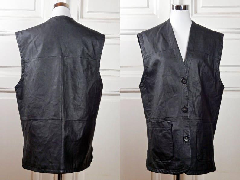 Size 14 US Women/'s European Vintage Black Leather Moto Biker Rocker Waistcoat Size 18 UK Long Black Leather Vest