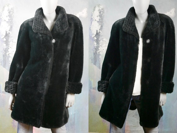 Black Faux Fur Coat, 1980s Swedish Vintage Fake Fu