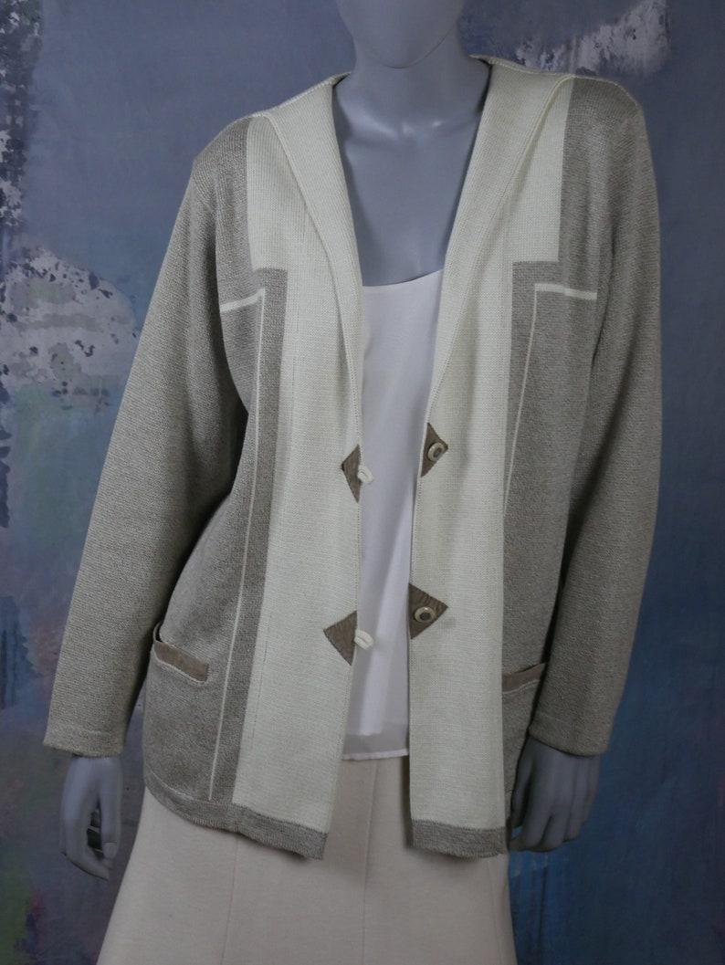 Size 16 US Swedish Knit Cardigan Blazer 20 UK European Vintage Cotton Blend Cream /& Beige