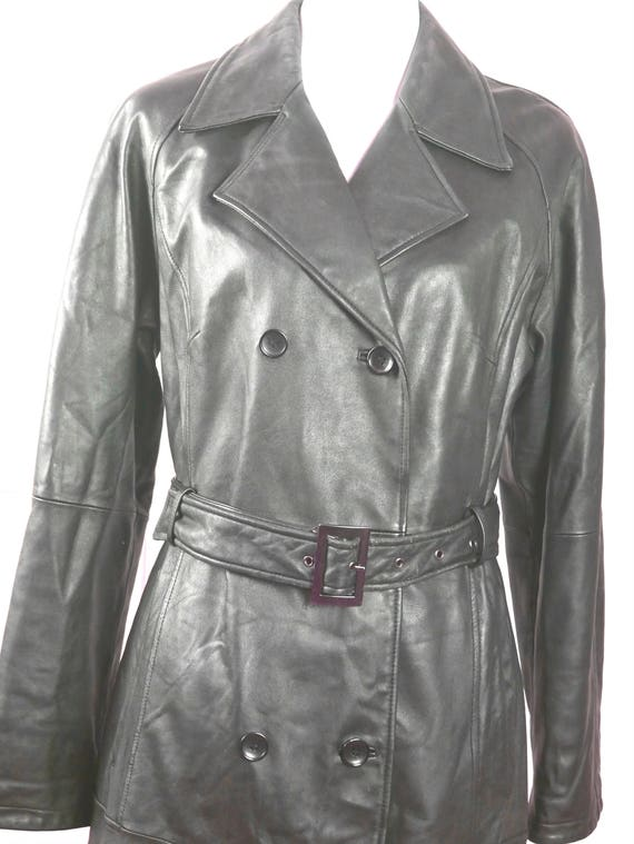 Women's Leather Jacket, Dark Charcoal Gray Leather Coat, Vintage Soft Lambskin Leather Belted Trench Coat: Size 6 US, Size 10 UK