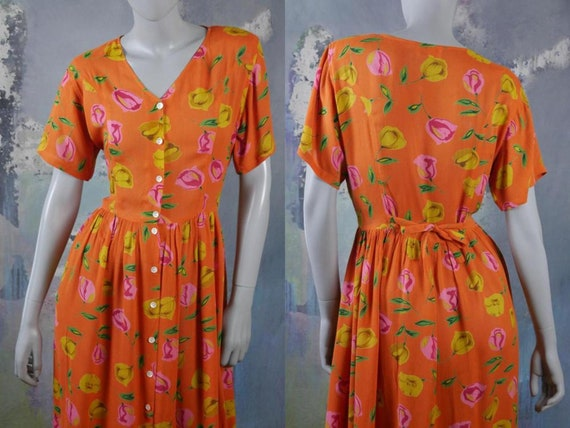 Orange Summer Dress, 1990s Short-Sleeve Long Boho