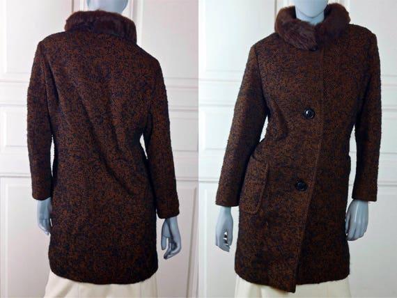 Swedish Vintage 1960s Coat, Burnt Orange Black Woo