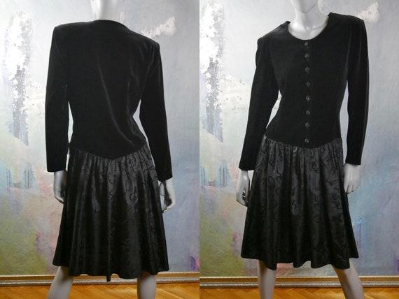 Black Velvet & Satin Dress, 1980s European Vintage