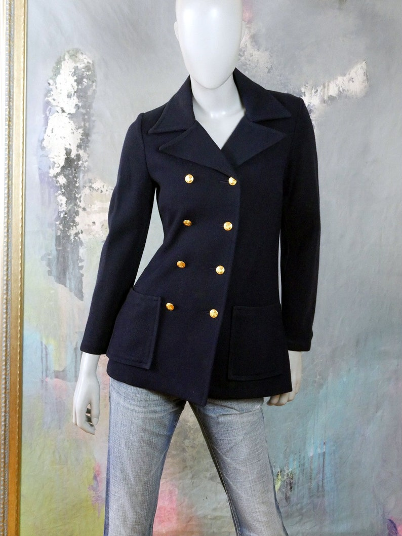 Size 6 US 1980s Swedish Vintage Peacoat Style Dark Navy Blue Double-Breasted Blazer Jacket with Gold Anchor Buttons 10 UK