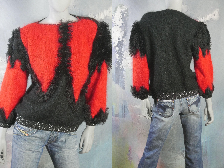 80s Sweatshirts, Sweaters, Vests | Women 1980S Sweater, Red  Black Fuzzy Wool Angora Bateau Neckline Pullover Size 10 Us, 14 Uk $55.57 AT vintagedancer.com