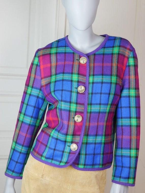 Finnish Vintage Plaid Wool Blazer Women's, 1980s P