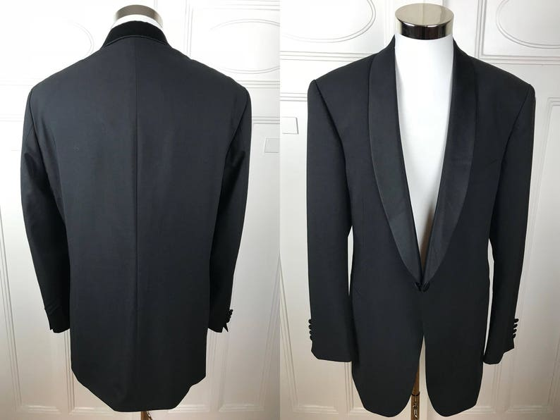 Black Dinner Jacket: Size 44 German Vintage Tuxedo Jacket Black Single-Breasted Silk Shawl Collar European Smoking Jacket USUK