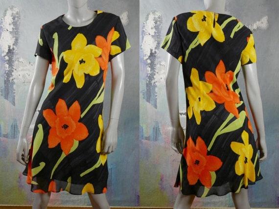 Short-Sleeve Summer Floral Dress, Black Orange Yel