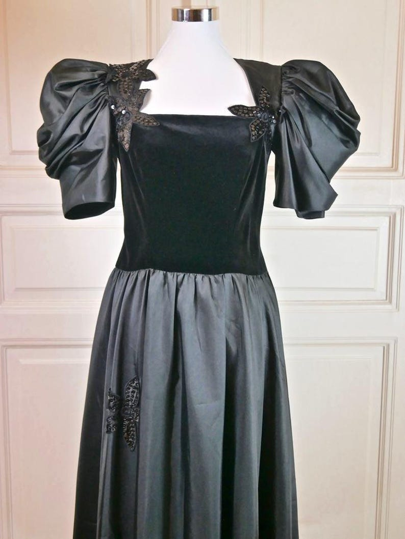 56b830d557 European Vintage Black Velvet and Satin Evening Dress Vintage
