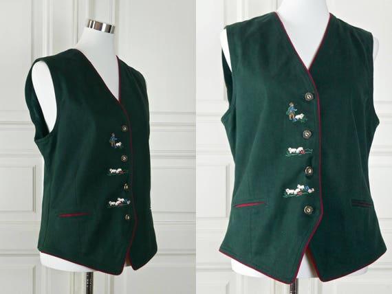 Brown Leather Vest 18 UK German Vintage Trachten Western Style Waistcoat Size 14 US