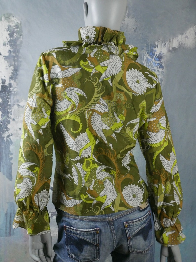 Green Abstract Pattern Retro Top with Ruffled Neckline 1970s Swedish Vintage Floral Blouse Size 14 US 18 UK