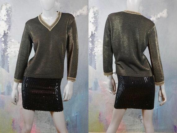 1960s Metallic Top, Black & Gold Wool and Lurex V