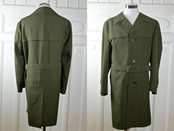 Trench Coat, Olive Drab Finnish Vintage Belted Men