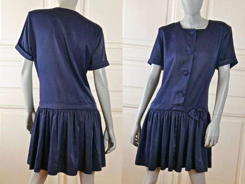 Size 16 UK Great Gatsby Navy Blue Summer Dress Finnish Vintage Short-Sleeve Dress w Pleated Skirt and Bow Size 12 US