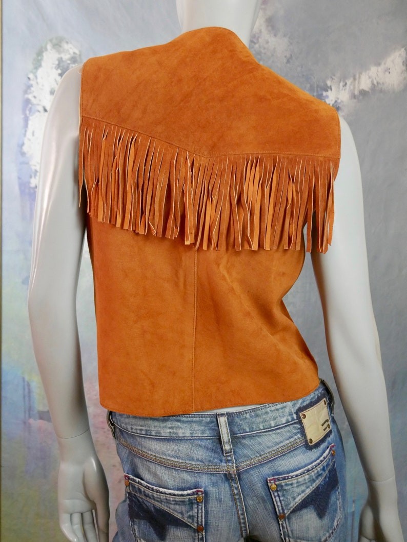 Size 12 US Butternut Squash Ruddy Brown Suede Western Cowgirl Waistcoat Leather Fringe Vest 16 UK