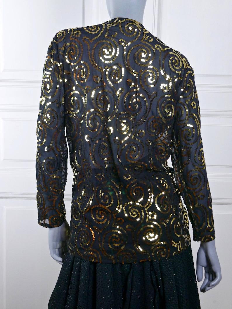 Black Gold Sequin 1980s Cocktail Blouse Formal Party Wear Blazer Top: Size 12 US Size 16 UK European Vintage Elegant Evening Top