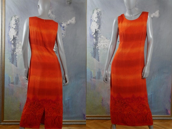 Sleeveless Midi Dress, Orange Striped 1990s Europe