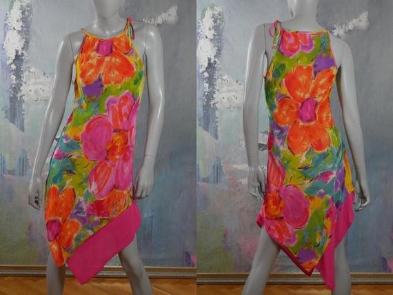 Sleeveless Floral Summer Dress, 1990s French Vinta